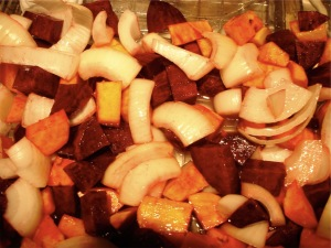 Pan of roasting veggies ready for the oven