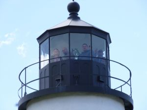 The family up top in the Pemaquid Point Lighthouse