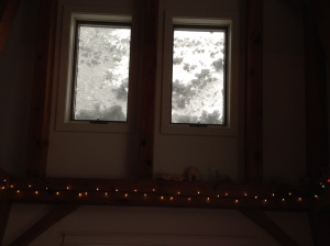 Snow on the roof windows is getting deeper!