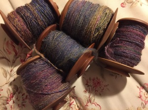 Friends Folly Farm singles. I really need to ply these - I need the bobbins for my next project!